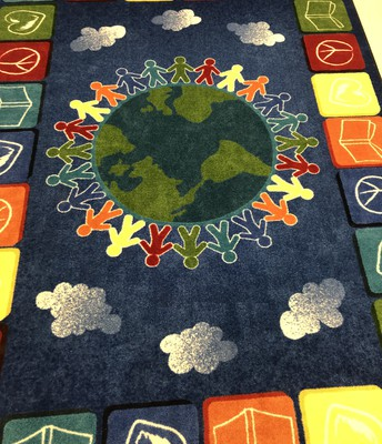 Classroom rug purchased with funds raised at the Book Fair