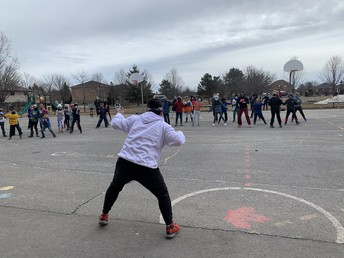 Zumba with Edward was a huge hit - tons of fun with music outside!