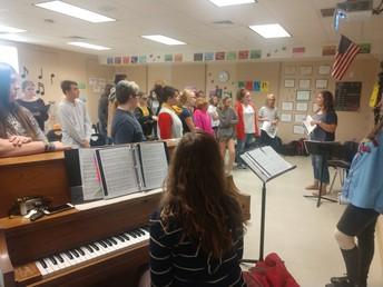Choir meeting with Choreographer, Lindsey Hux!