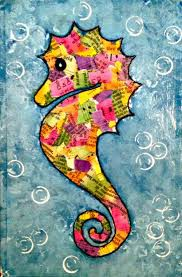Seahorse Collage Painting: