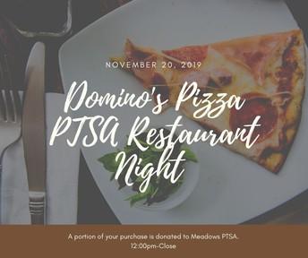 Domino's Pizza PTSA Fundraiser Night 11/20