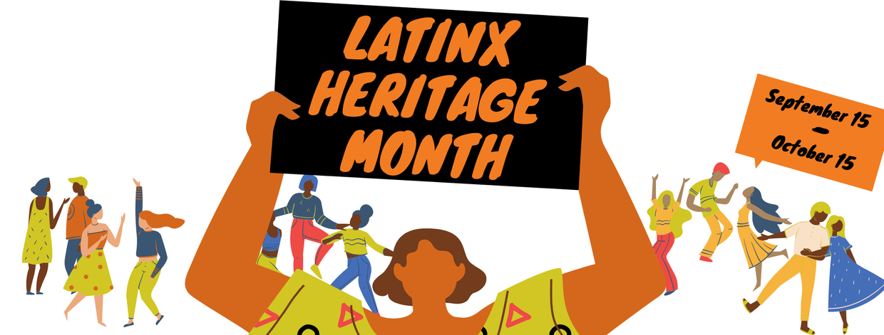 """Cartoon people dance in the background of a woman holding a sign that says """"Latinx Heritage Month"""" the image also reads: September 15 through October 15"""