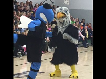 Our PBIS Assembly featured a dance off between our own Mason D. Eagel and the Clay-Battelle Cee-Bee!