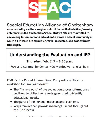 SEAC Meeting: Understanding the Evaluation and IEP