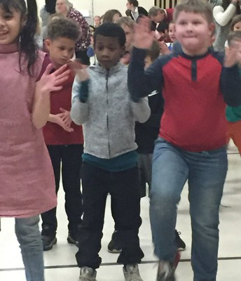 2nd grade students jamming at our School wide Dance Party!