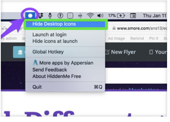 Hide your desktop icons with one click