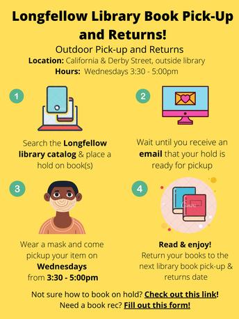 Cada Miércoles* de las 3:30-5pm puedes pasar por la biblioteca de Longfellow.