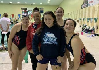 Members of the NPHS swim team at Friday's all-schools meet.