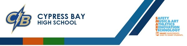 A graphic banner that shows Cypress Bay High school's name and SMART logo.