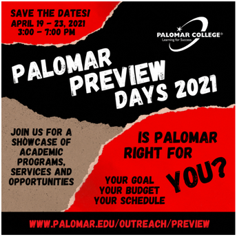 Look what's coming up at Palomar College!