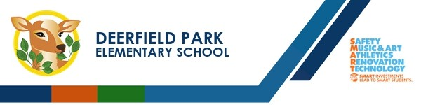 A graphic banner that shows Deerfield Park Elementary School's name and SMART logo
