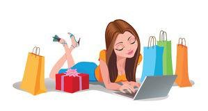 cartoon girl shopping online