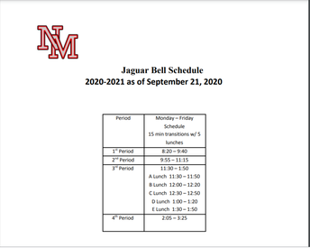 New Bell Schedule Effective September 21, 2020