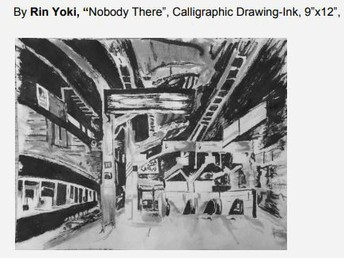 "By Rin Yoki, ""Nobody There"", Calligraphic Drawing-Ink, 9""x12"","