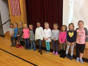 1st graders that received September Perfect Attendance Awards