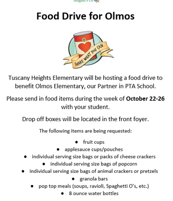 Food Drive for Olmos- October 22nd-26th