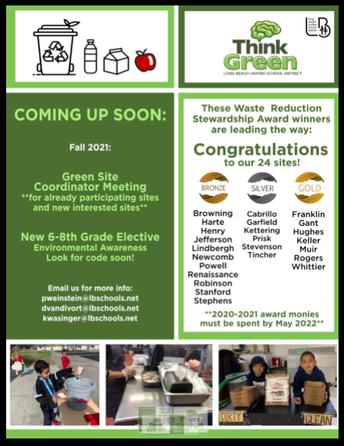 "Prisk Earns LBUSD's ""Think Green"" Program Silver Award!"