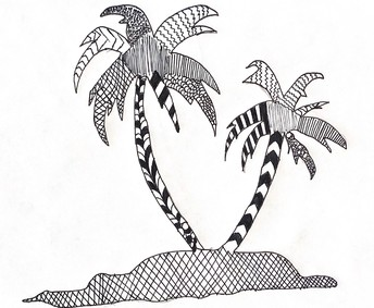 Zentangle drawing of palm trees