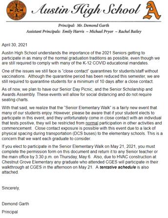 Senior Elementary Walk Information