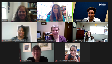 Screenshot from a virtual meeting of the FLC group showing eight women of various ages, races, and ethnicities.