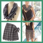Convertible Sarong - Black/White - Size XS/S - $25