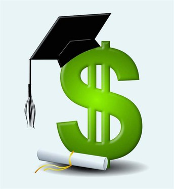 Dollar sign icon with graduation cap and diploma