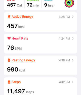 Summary of Daily Exercise