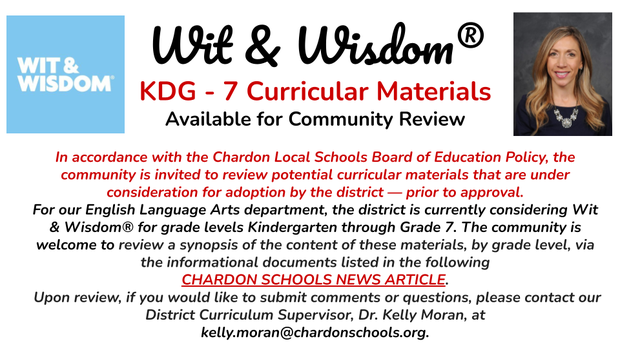 Wit & Wisdom logo and District Curriculum Supervisor Kelly Moran