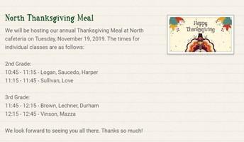 North Elem Thanksgiving Feast Schedule