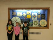 Memorial 5th graders with their compass rose projects