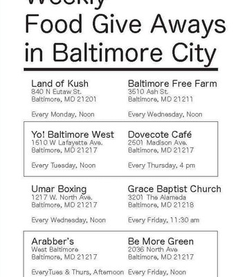 WEEKLY FOOD GIVE AWAYS IN BALTIMORE CITY