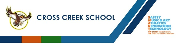 A graphic banner that shows Cross Creek School's name and SMART logo