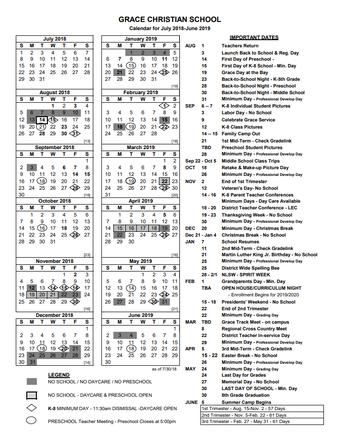 Grace Christian School Calendar