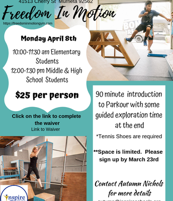 Freedom in Motion Parkour Gym Day! March 23rd