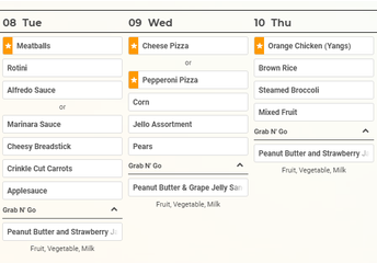 This Week's Lunch Menu At a Glance