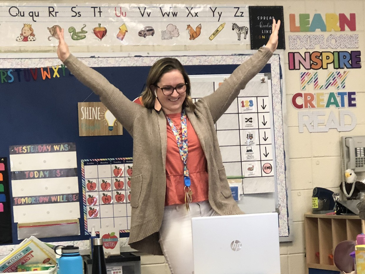 Teacher engaged in remote teaching