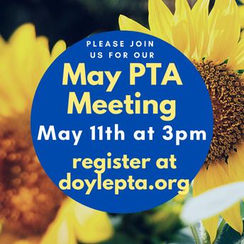 PTA Meeting Tuesday, May 11th