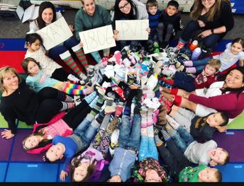 Kindergarten's Socktober Final Count!  We collected 1802 pairs of socks!