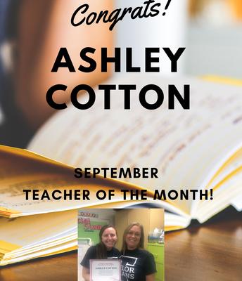 Ashley Cotton - September Teacher of the Month