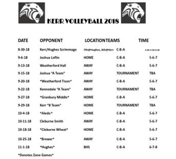 KERR Volleyball Schedule