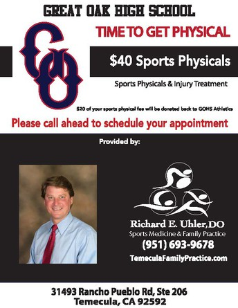 Need a Sports Physical?    Help Support Great Oak Athetics!