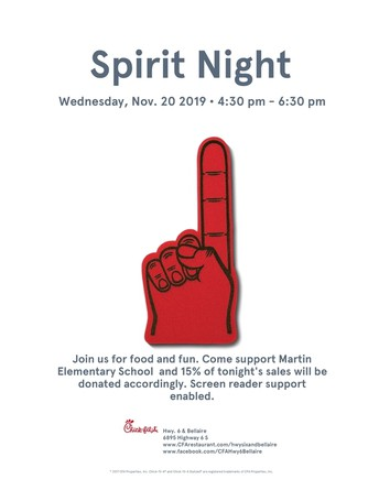 Wednesday, Nov. 20th - Chick-Fil-A Spirit Night