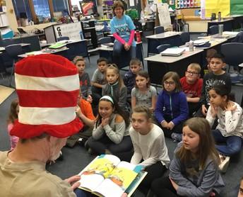 Mr. Bennett reads Dr. Seuss to 3rd graders