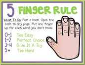 Five Finger Rule... For Just Right Books