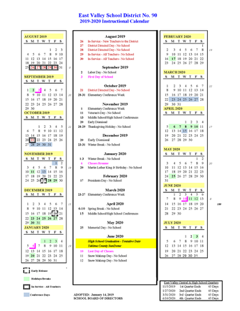 2019-2020 instructional calendar is now available online at www.evsd90.org