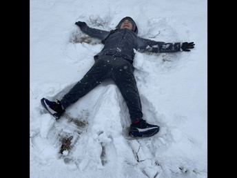 Mrs. Salazar's son making a Snow Angel!