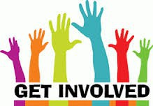 """Multi-color hands in the air / """"Get Involved"""" poster"""