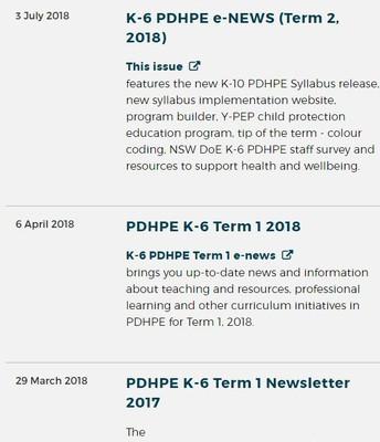 PDHPE News
