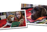 kids reading books with dogs