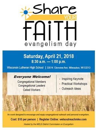 WELS EVANGELISM DAY - APRIL 21, 2018